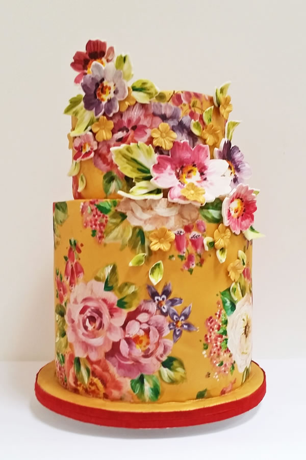 neviepiecakes.com: Painted florals in brights make for a vintage look modern alternative masterpiece.