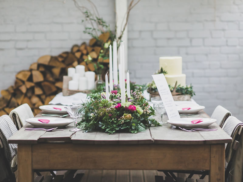 The danish notion of hygge is here to stay; give your big day the hygge factor with clusters of candles and natural textures with a Scandinavian chic twist