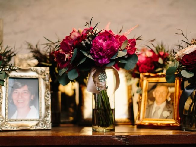 framed pictures and flowers winter wedding ideas