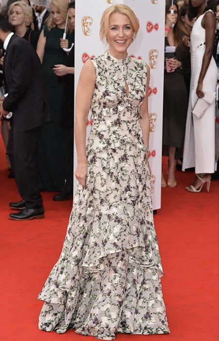 Swathes of ruffles, embellishments and florals for Gillian Anderson.