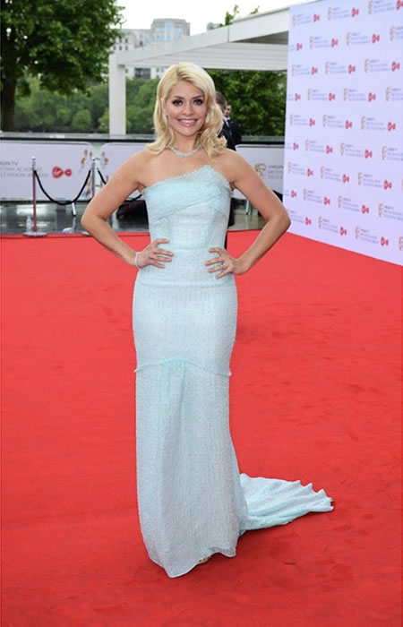 A soft mint blue slender modern cinderella gown by Roland Mouret caught the attention of Holly Willhoughby fans.