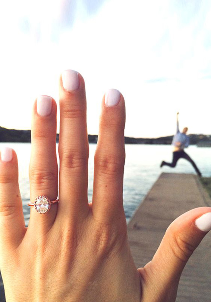 He proposed! And all you want to do is scream it from the rooftops! Get creative with these 15 ideas for the most instagrammable engagement announcement!