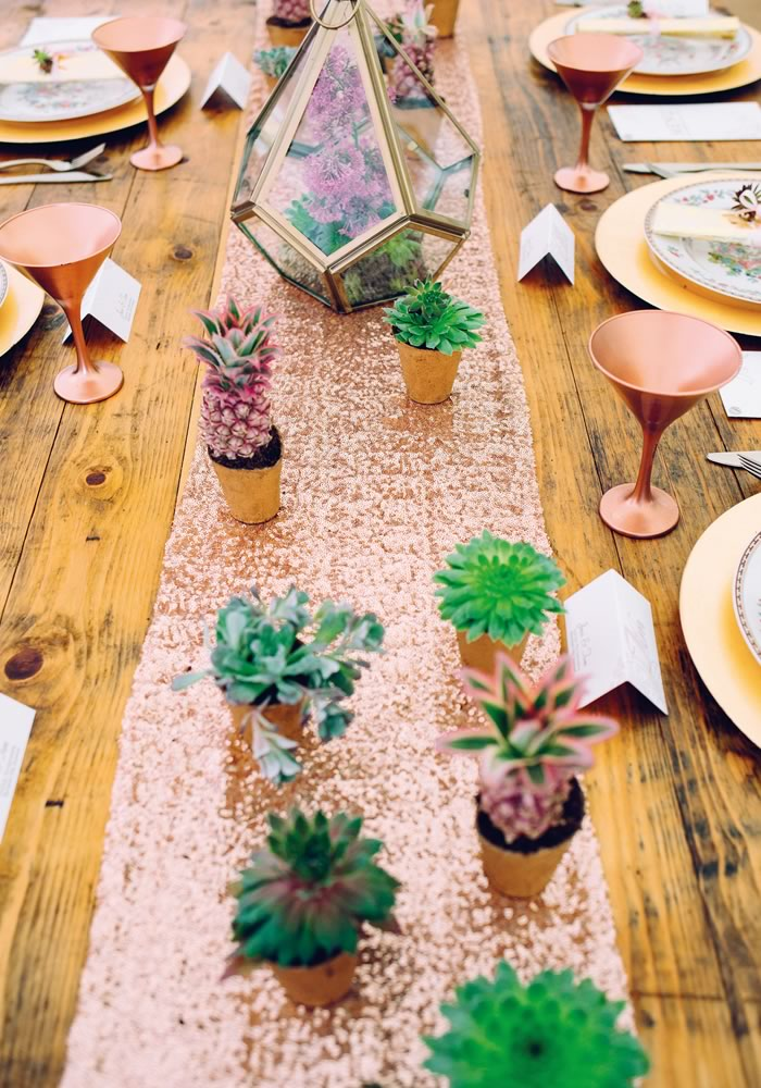 Are you in love with the idea of a rose gold wedding theme? This styled shoot shows you how to team it with sequins and succulents for an ultra stylish look
