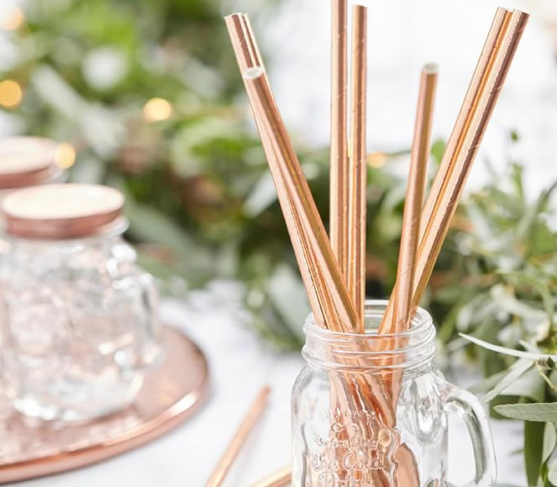 hen party accessories rose gold straws