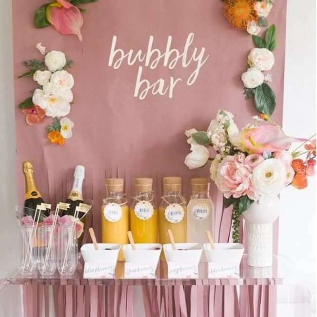 DIY Champagne bar - 31 Budget Hen Party Games and Ideas