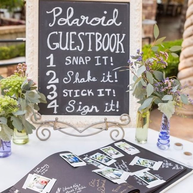 Guestbook with polaroid pictures - 31 Budget Hen Party Games and Ideas
