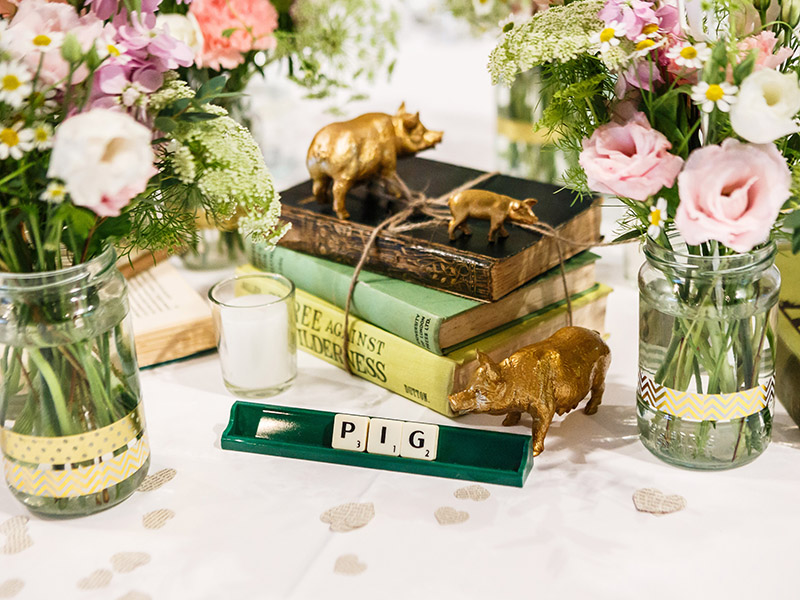 A pet pug, DIY scrabble centrepieces and pretty pastel wedding colour scheme gave this barn wedding bags of character! Take inspiration for your own day...