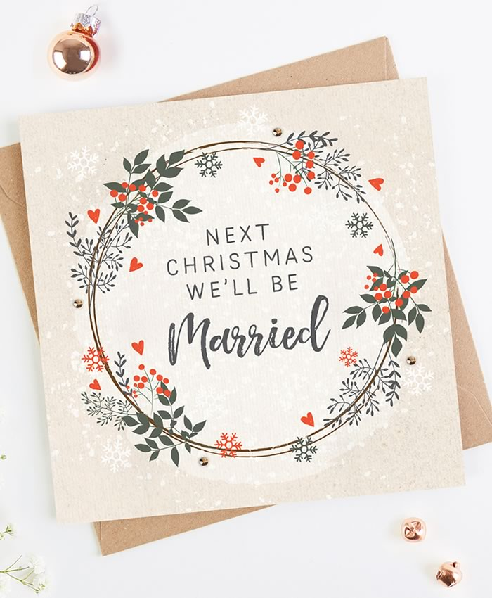 His and hers gifts: Norma & Dorothy 'Engaged Couple' Christmas Card