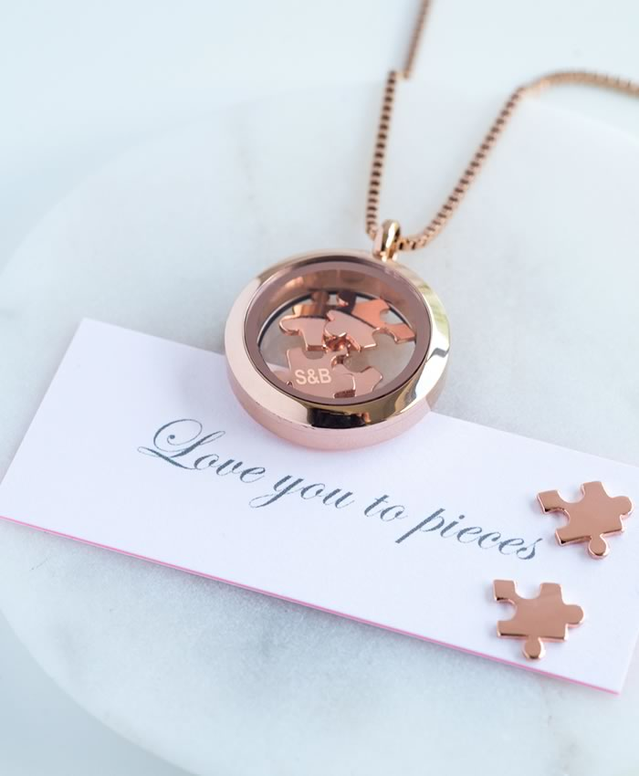 His and hers gifts: 'Love you to pieces' necklace