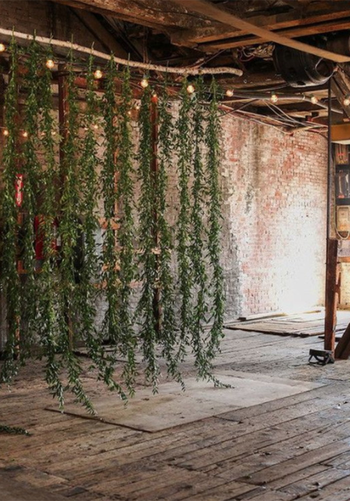 hanging tree garland Find pretty winter wedding decoration ideas