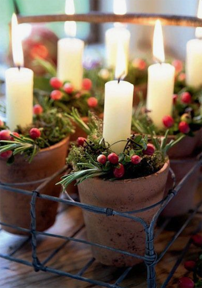 potted Christmas candles for wedding decoration centrepieces