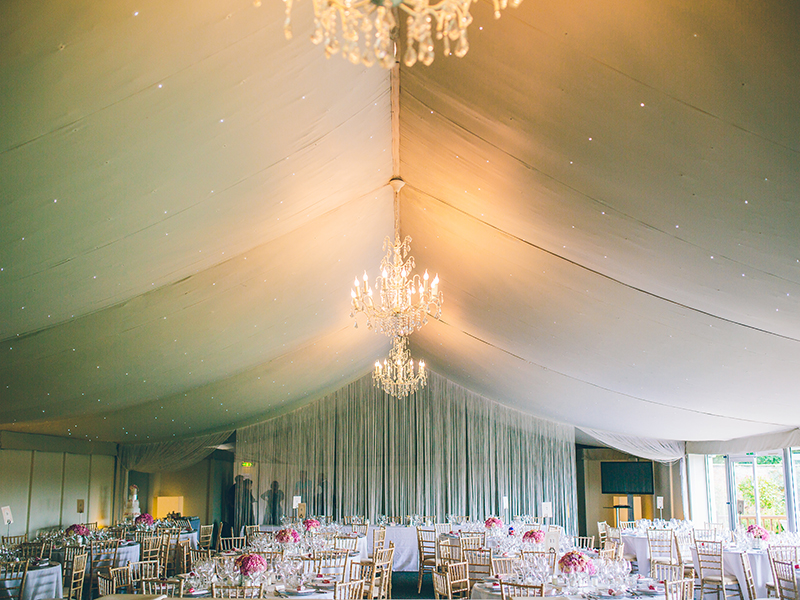 "Hayley & Umesh said ""I do"" at the beautiful Combermere Abbey, with the bride wearing a Pronovias dress to start the romantic glamour theme"