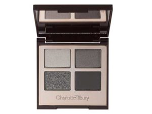 Charlotte tilbury grey and black eyeshadow quad palette wedding makeup