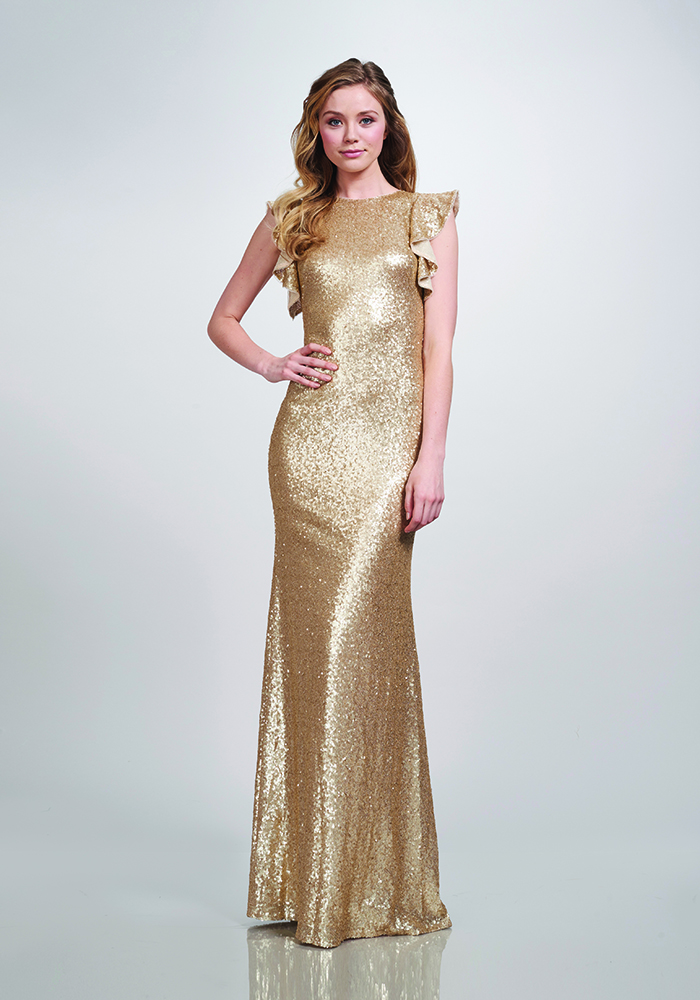 39517cf8c9 Theia Couture Gold bridesmaid dresses will give your best girls instant  glamour