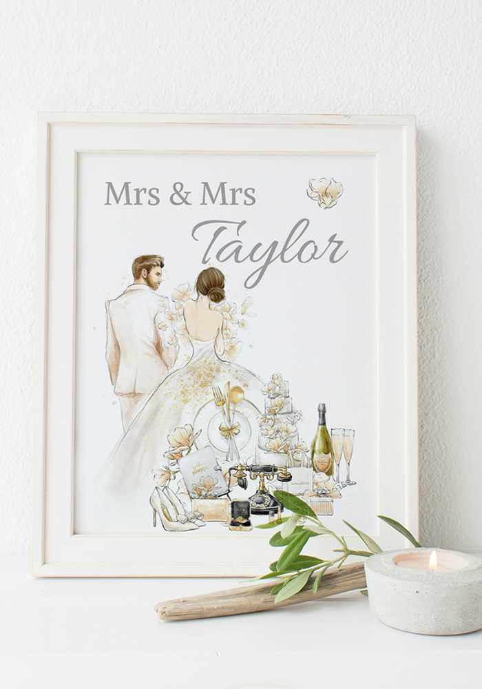 Turn to Pretty Paris Paperie for bespoke Wedding Gifts & Prints