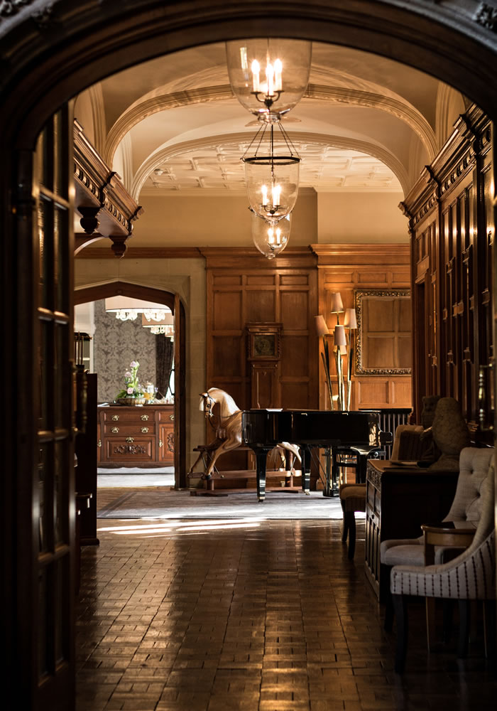 Beautiful neo-elizabethan architecture and hunting lodge interiors at Bovey Castle...
