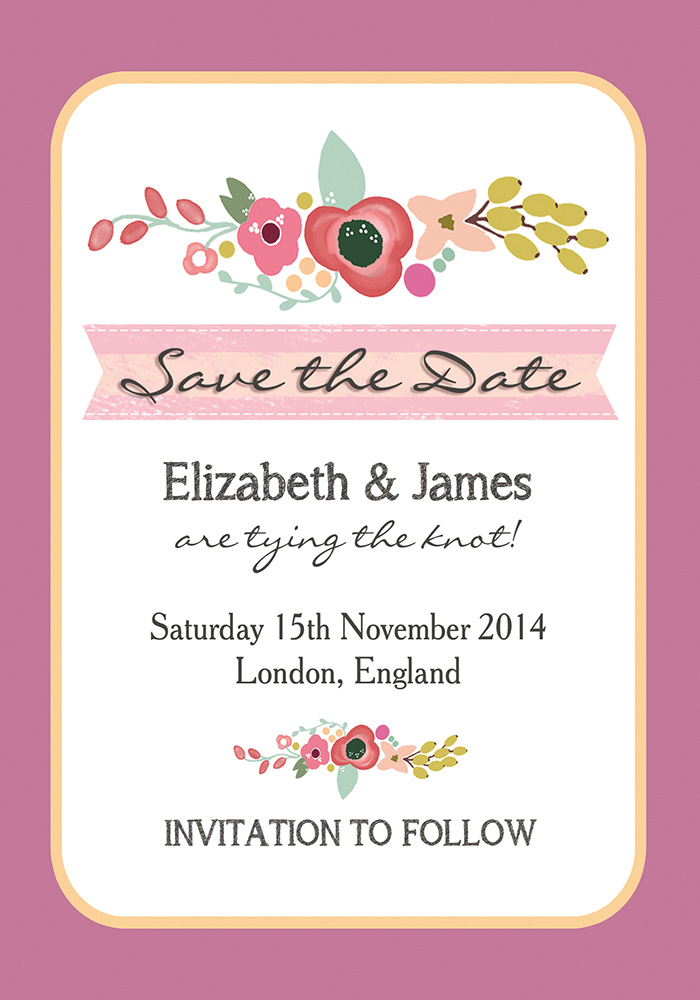 Elegant Floral Save the Date, Hip Hip Hooray, from 75p… pink, blush, peach, hand painted, flowers