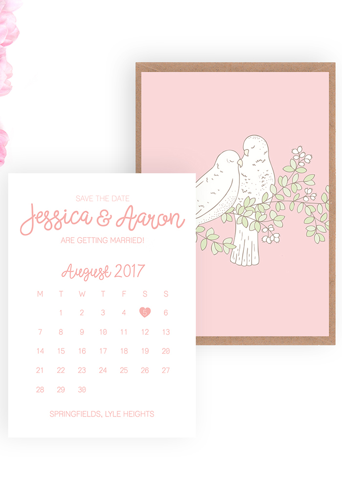 Love Birds Save the Date, beaandbloom.com £1.95