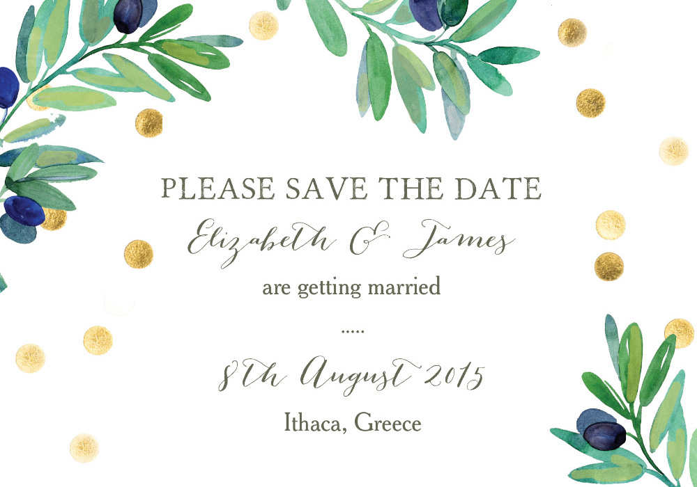 Olive Wreath Save the Date by Hip Hip Hooray from 75p