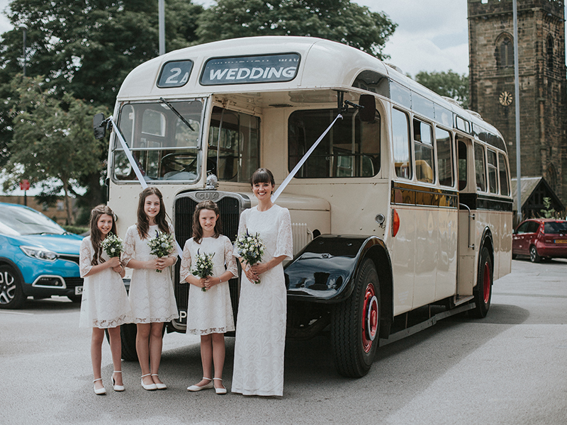 Maria and Shaun handmade lots of details for their day, including lace bunting upcycled from old curtains, to pull off a pretty vintage Yorkshire wedding