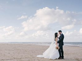 Louise and Gary celebrated their marriage with a beach wedding, with the bride wearing Mori Lee and the couple choosing romantic but pared back decor...