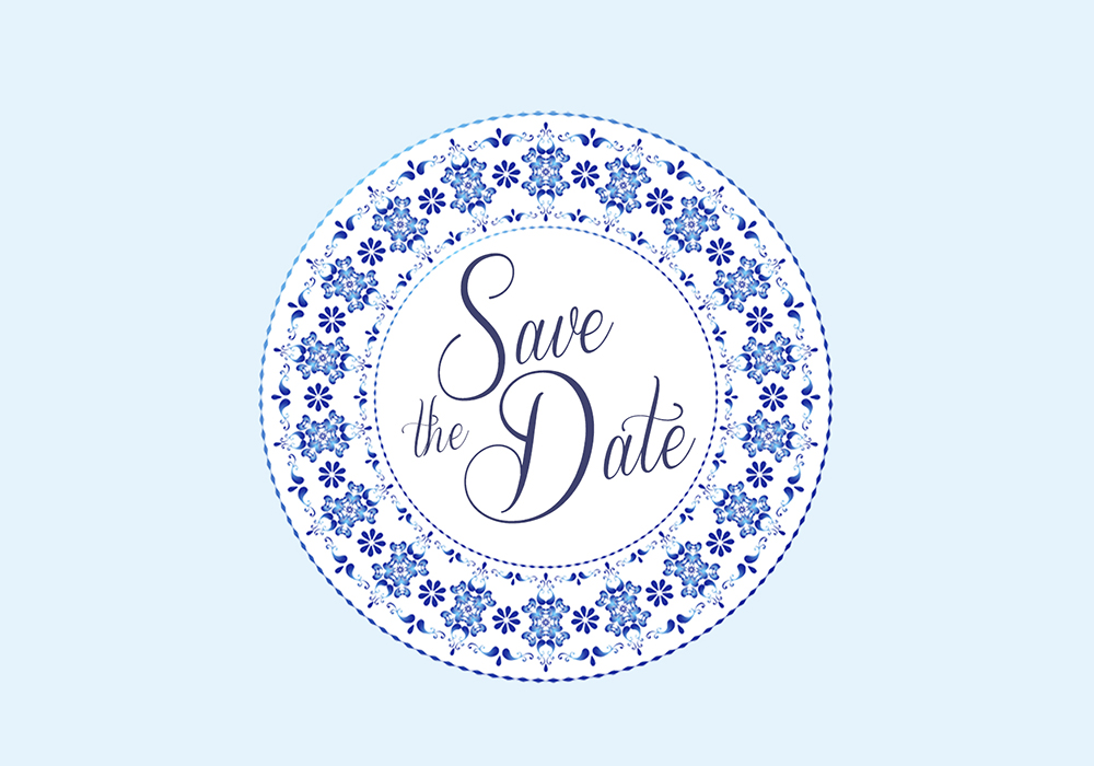 knotsandkisses.co.uk China Blue Save the Date Card Front ú2.60