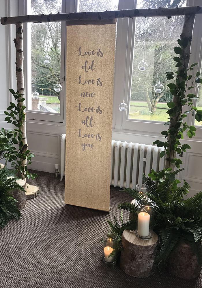 Tree stumps wedding ceremony