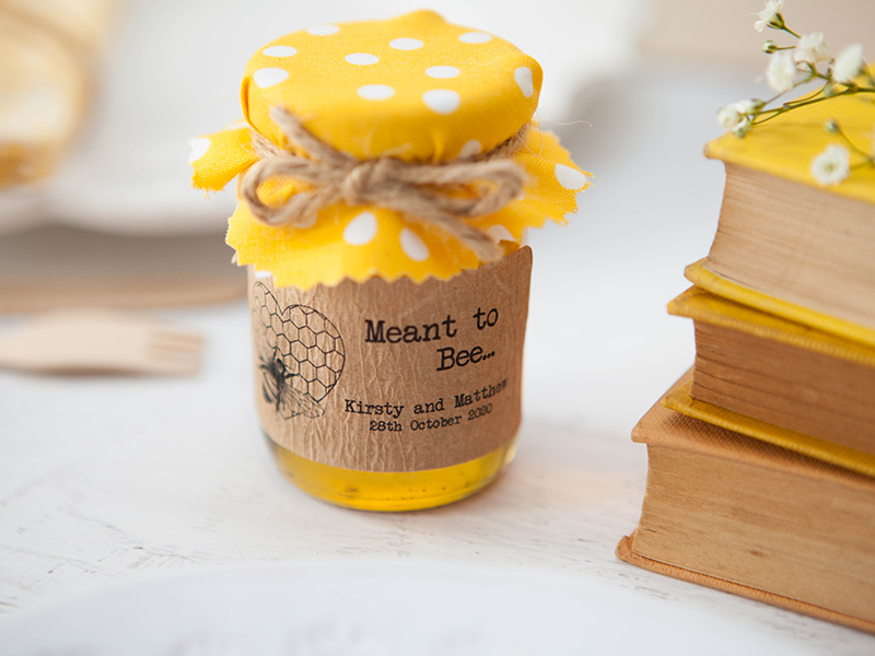 £6.00 for 18 'Meant to Bee' honey Favour Stickers, weddinginateacup.co.uk.