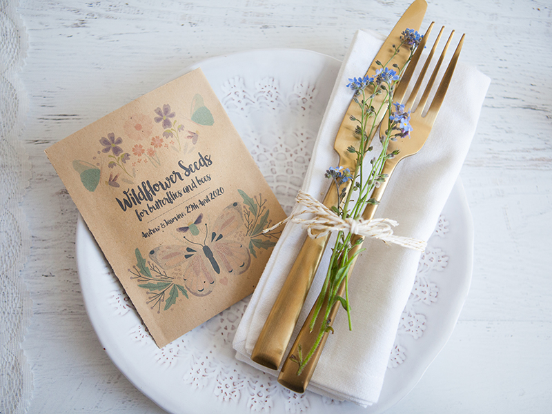butterflies & bees 4, Seed Packet Favour, weddinginateacup.co.uk, RRP £1.20 each