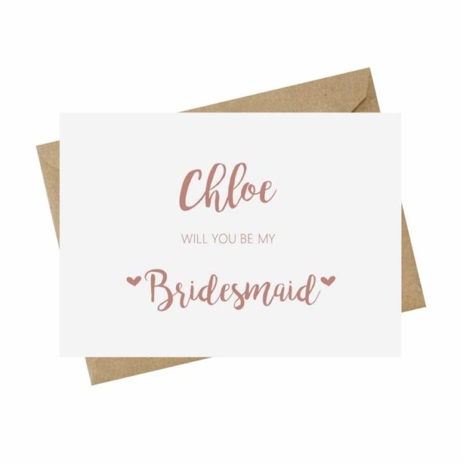 personalised card pink bridesmaid proposal ideas