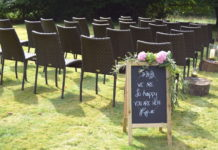 Welcome sign at wedding