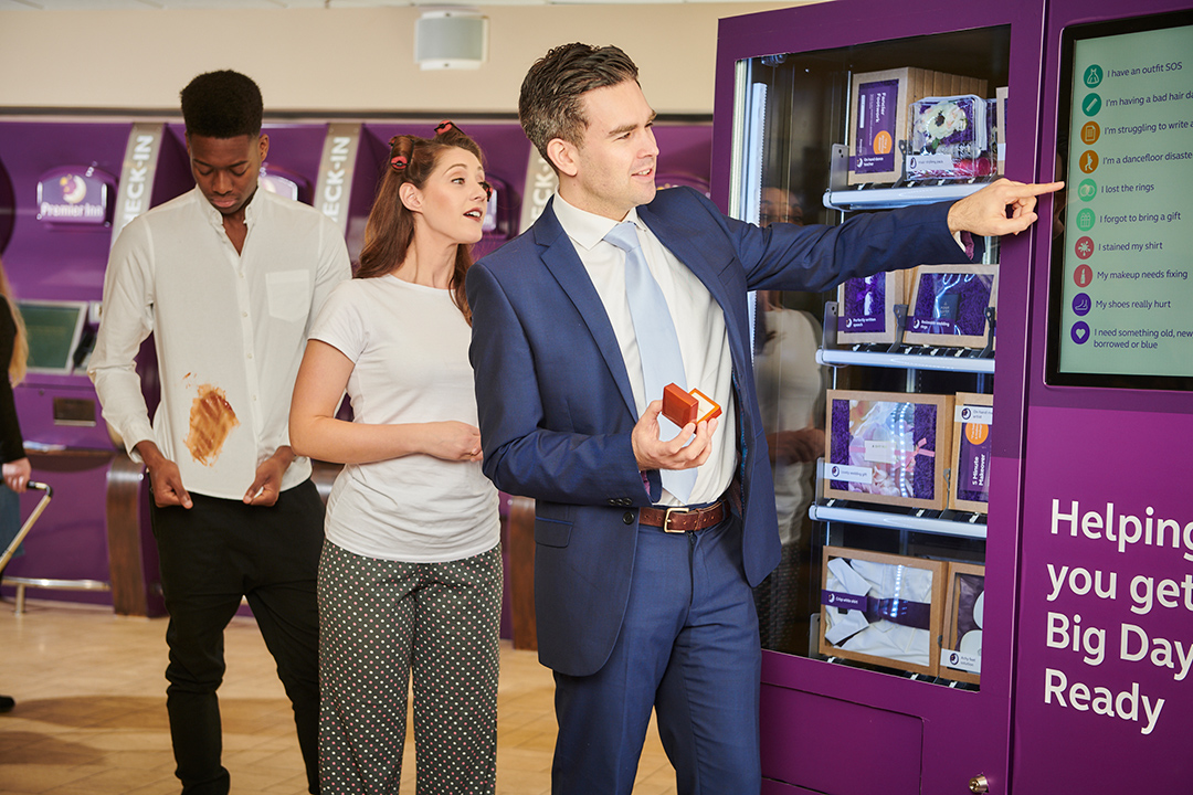 The Wedding Vending Machine comes filled with spare shirts, rings and even a one-size-fits-all dress