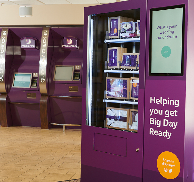 The Wedding Vending Machine will initially be rolled out at Premier Inn's London County Hall hotel