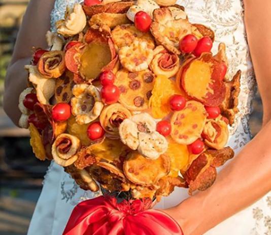 pizza wedding bouquet