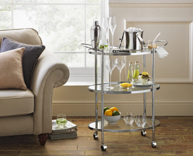 Chrome and glass serving trolley, gifts for booze lovers