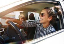 Girls travelling in a car