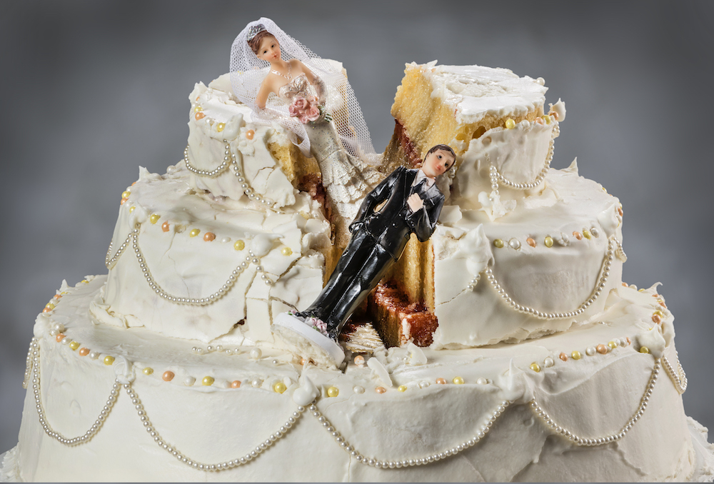 Smashed wedding cake
