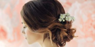 Curly bun wedding updo