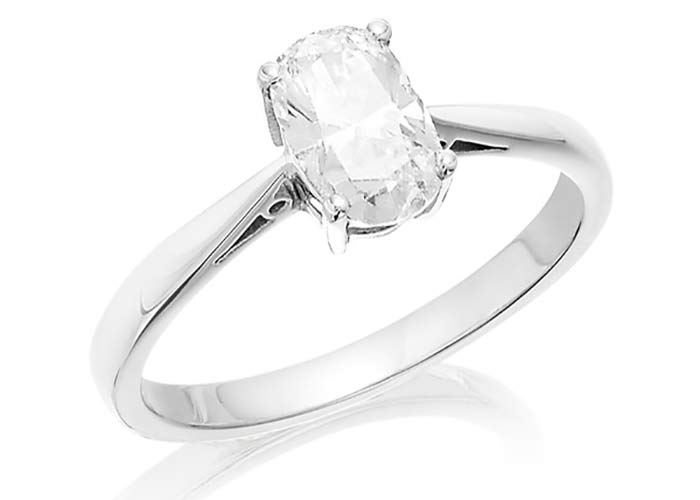 F Hinds oval engagement ring