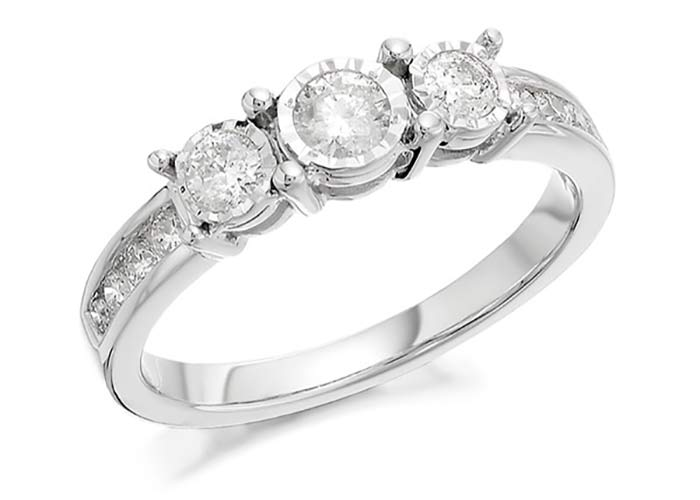 F Hinds three diamond engagement ring