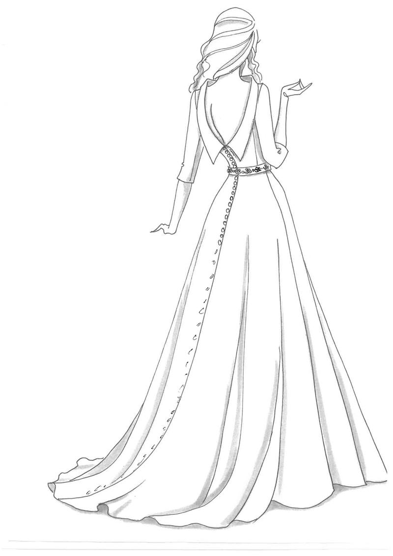 Princess Eugenie wedding dress sketch prediction