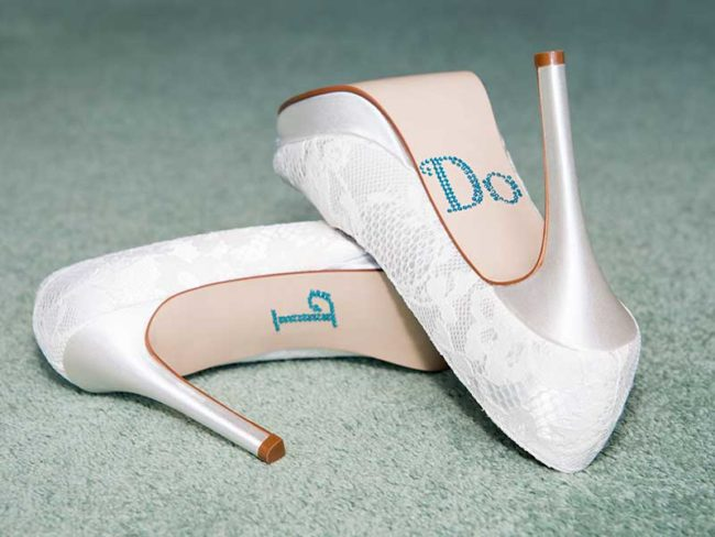 lace 'I do' wedding heels best bridal heels