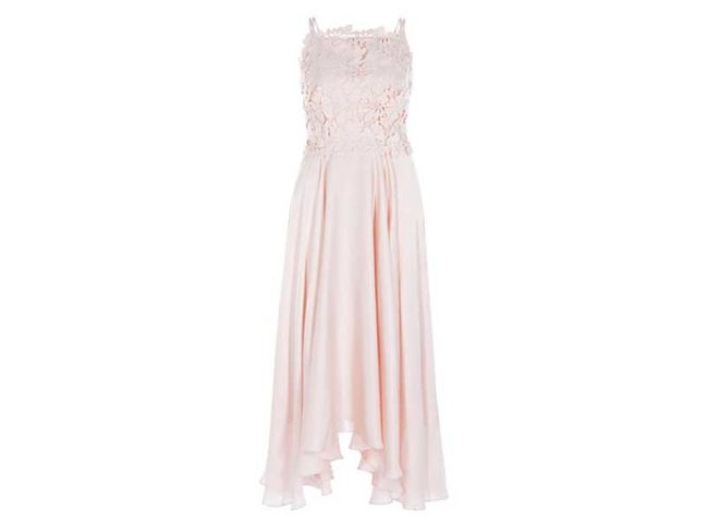 lace pink blush midi bridesmaid dress best bridesmaid dresses