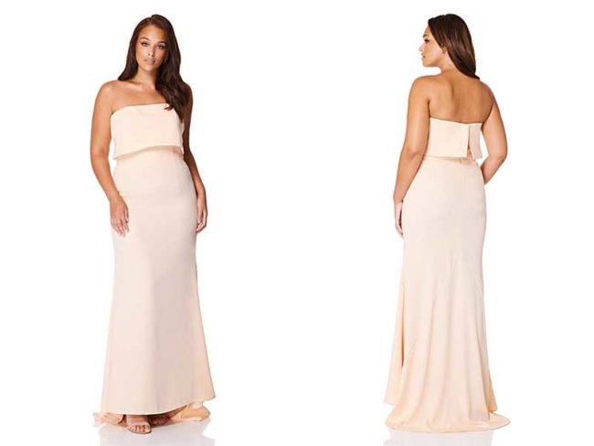 Pink blaze strapless Harlow bridesmaid dress to suit every shape