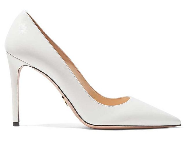 white Prada heel pumps best wedding heels