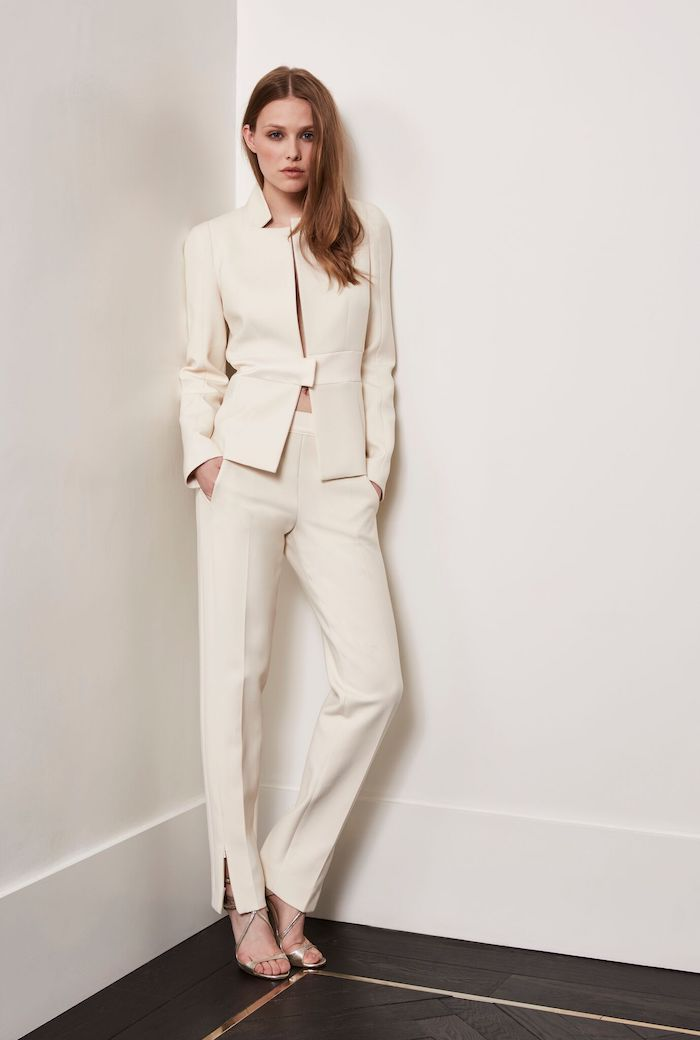 two-piece wedding dress suit Amanda wakely