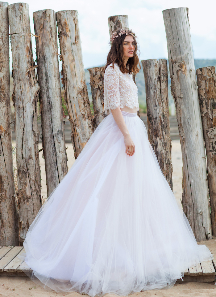 two-piece wedding dress costarellos