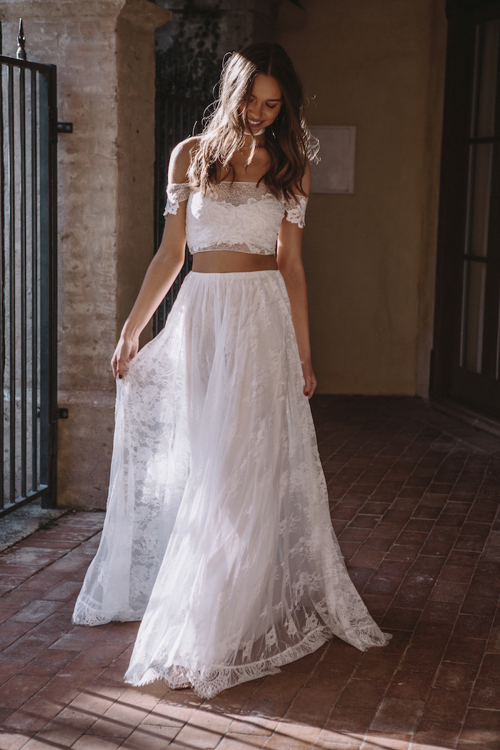 two-piece wedding dress graces loves lace Perla