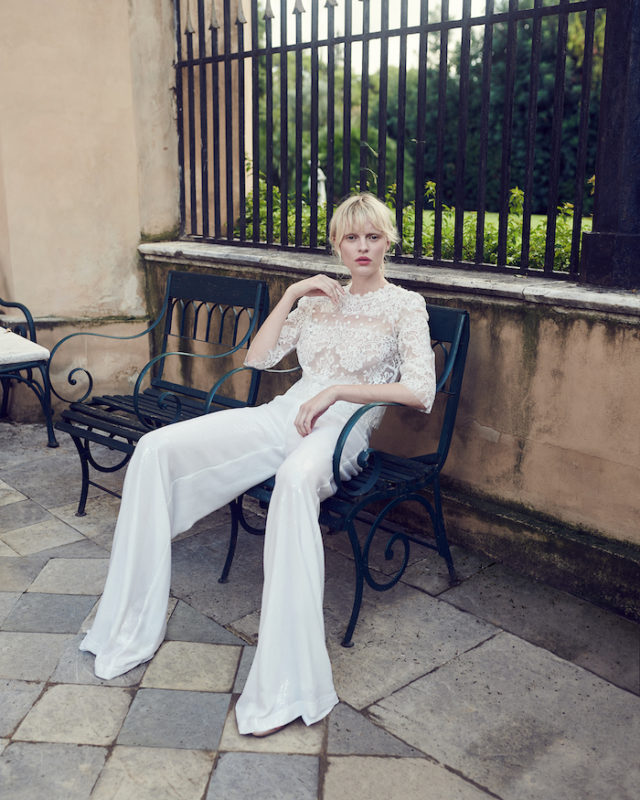 two-piece wedding dress costarellos trousers