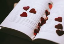 Religious Wedding Readings rose petals in book